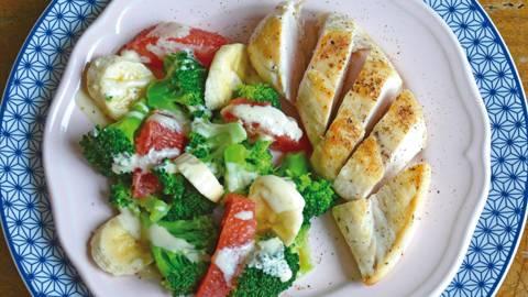 Pouletbrust an Bananen-Brokkoli Gemüse