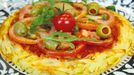 Vegane Rösti mit Oliven-Tomatensauce