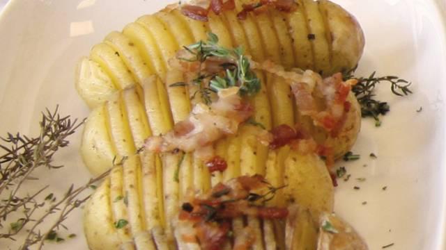 Fächerkartoffeln mit Speck