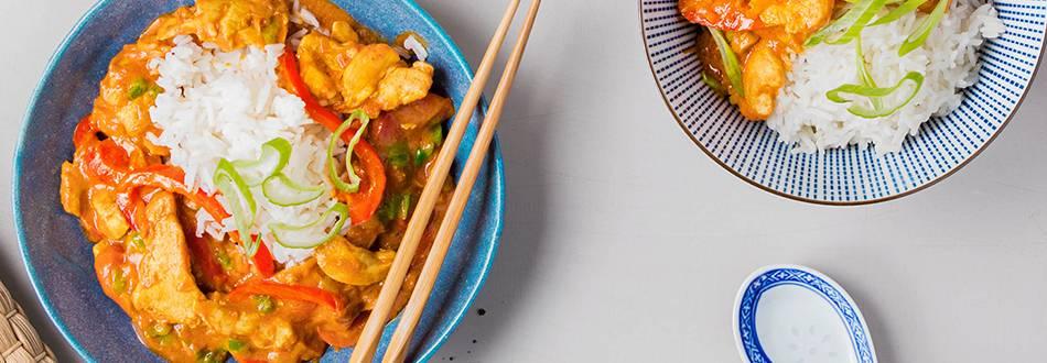 Bengali Chicken Curry mit Zitronengras und Basmatireis
