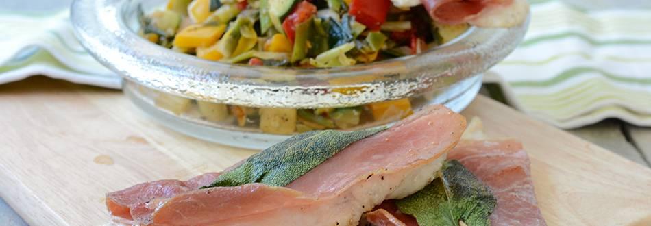 Poulet-Saltimbocca à la minute mit Gemüsemix