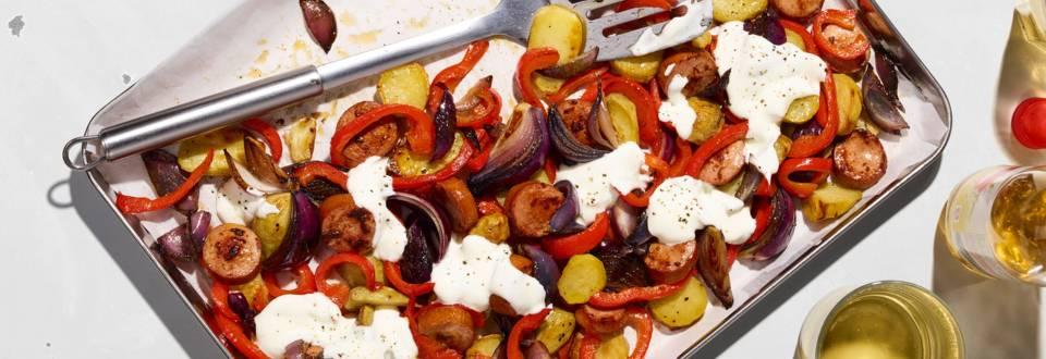 Wurst-Kartoffel-Blech